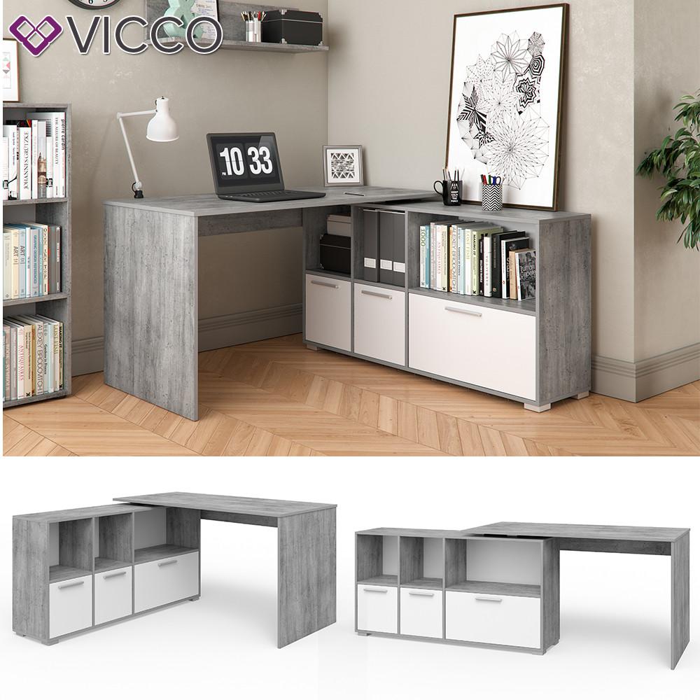 Vicco угловой стол Flex, компьютерный  стол с полками, 136x76 цвет белый, Бетон