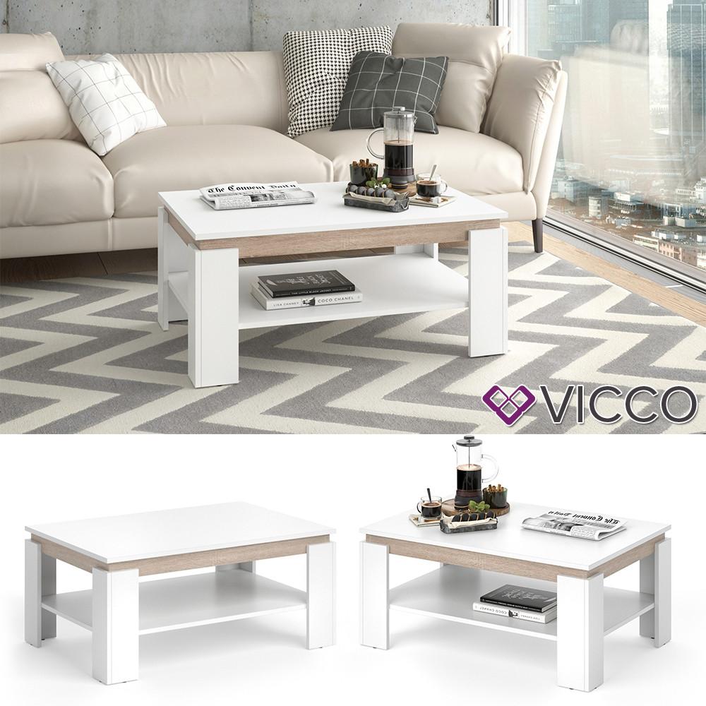 Vicco журнальный столик Emma, 90x40, белый сонома дуб