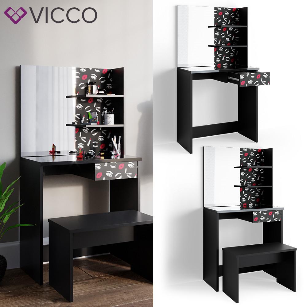 Vicco туалетный столик Dekos, 75x141, цвет черный глянец