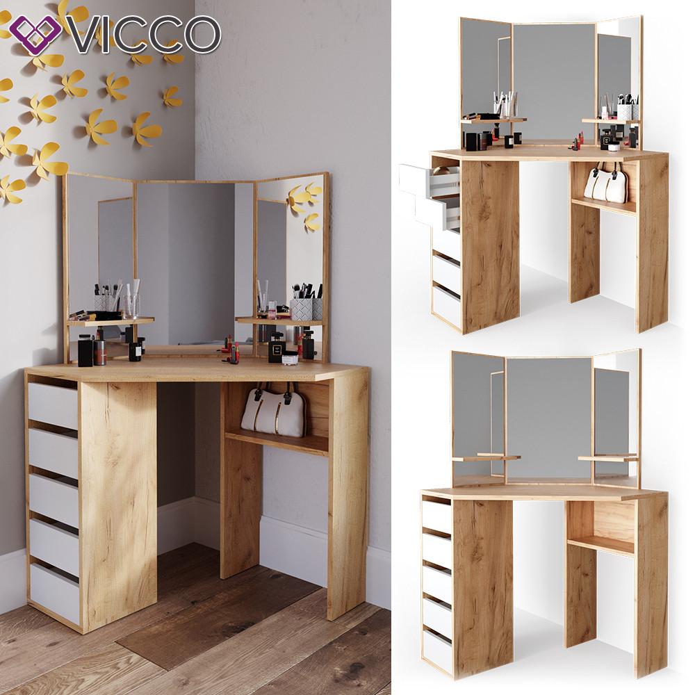 Vicco угловой туалетный столик Arielle, 110x142, цвет сонома