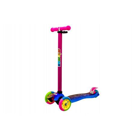 Самокат с разноцветными PU колесами, свет, высота 90см