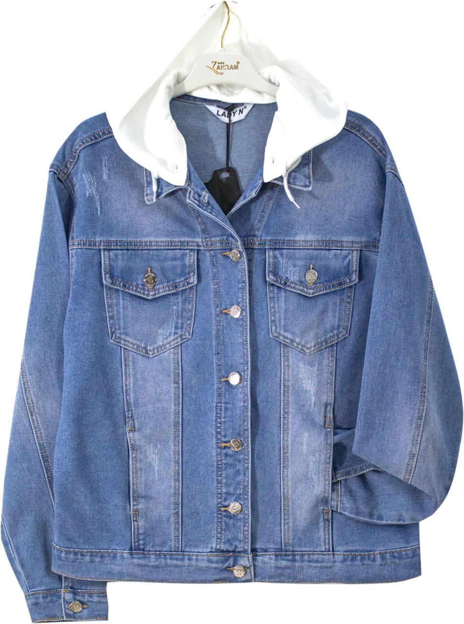 Куртка жіноча джинсова з накладними трикотажним капюшоном батал, фото 2