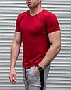 Мужская футболка красная однотонная, фото 3