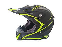 Шлем кроссовый HF-116 (size: XL, черный-матовый с зеленым рисунком)