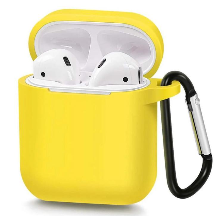 Силиконовый чехол с карабином для наушников Airpods/Аналогов Желтый
