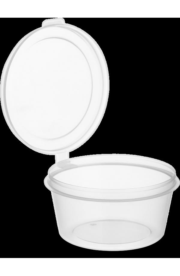 Соусник одноразовый 80 мл. с неразъемной крышкой наружу круглый прозрачный РР NEW 80 шт.
