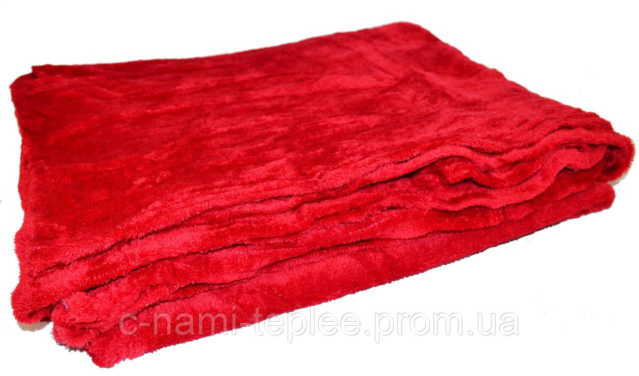 Плед микрофибра однотонный Красный 200х220 см