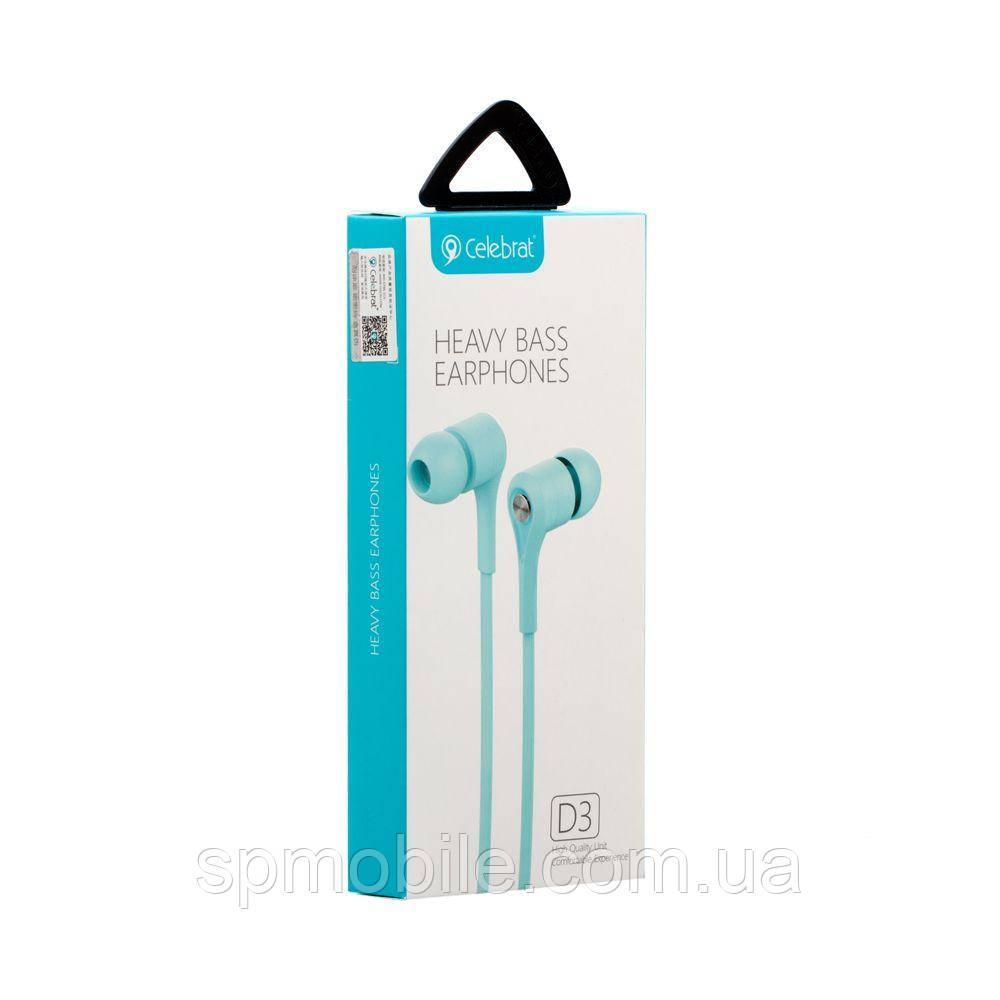 Наушники с микрофоном Celebrat D3 Blue