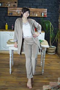 Комплект тройка, халат с пижамой хлопок велюр Serenade песочный с кружевом