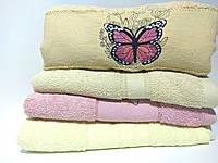 """Махровое банное полотенце """"Бабочка на цветке"""" 125*65см, №217"""