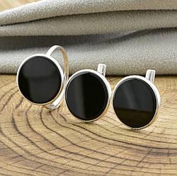 Серебряный набор 1226БС кольцо размер 15.5 + серьги 14х14 мм вставка оникс
