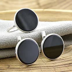 Серебряный набор 1226БС кольцо размер 16 + серьги 14х14 мм вставка оникс