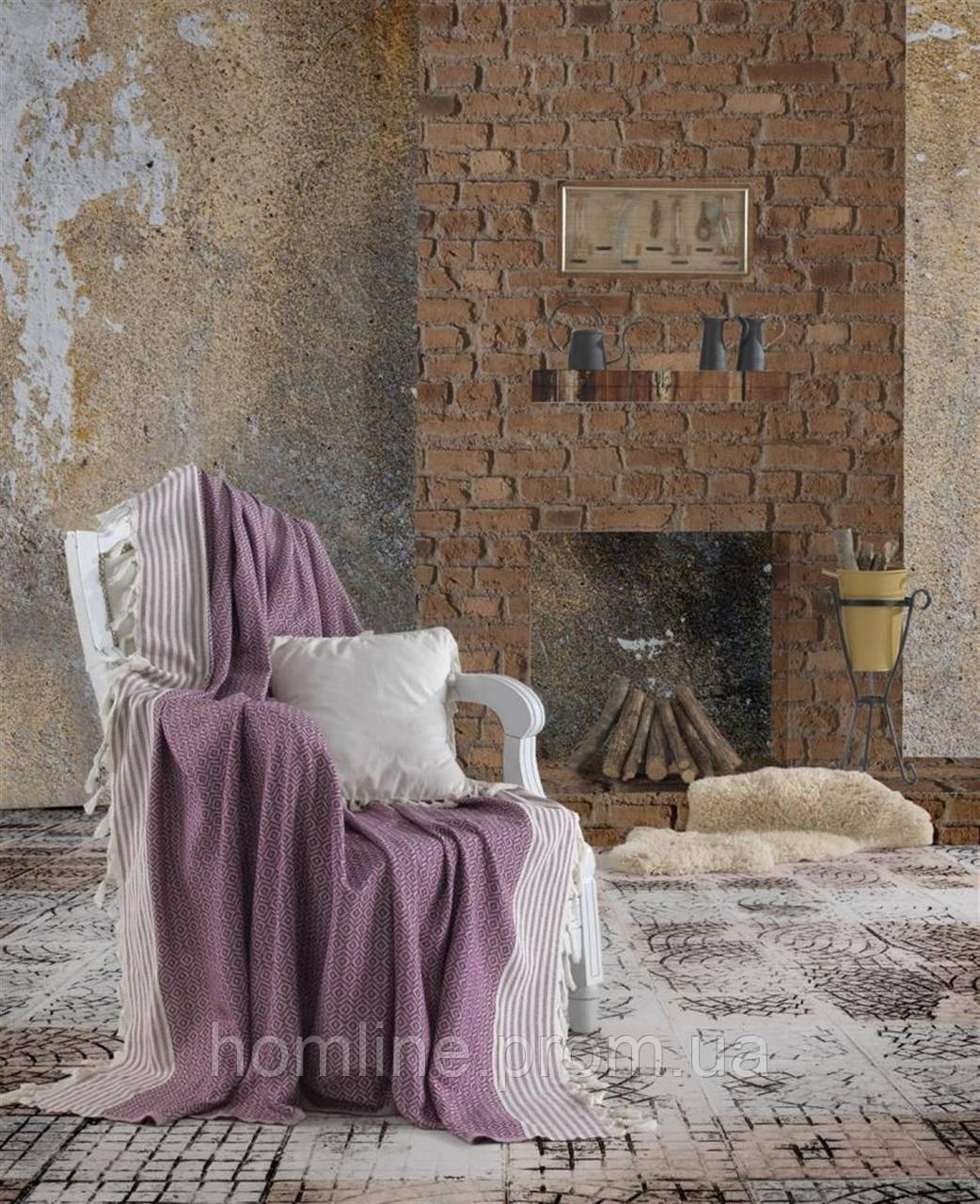 Плед-накидка Eponj Home Buldan Keten Etnik 170*220 mor фиолетовый