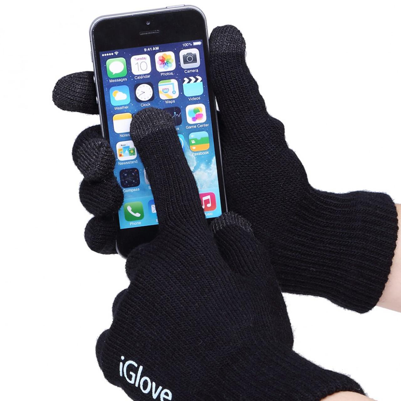 Перчатки для сенсорных экранов iGlove Black зимние для смартфонов унив