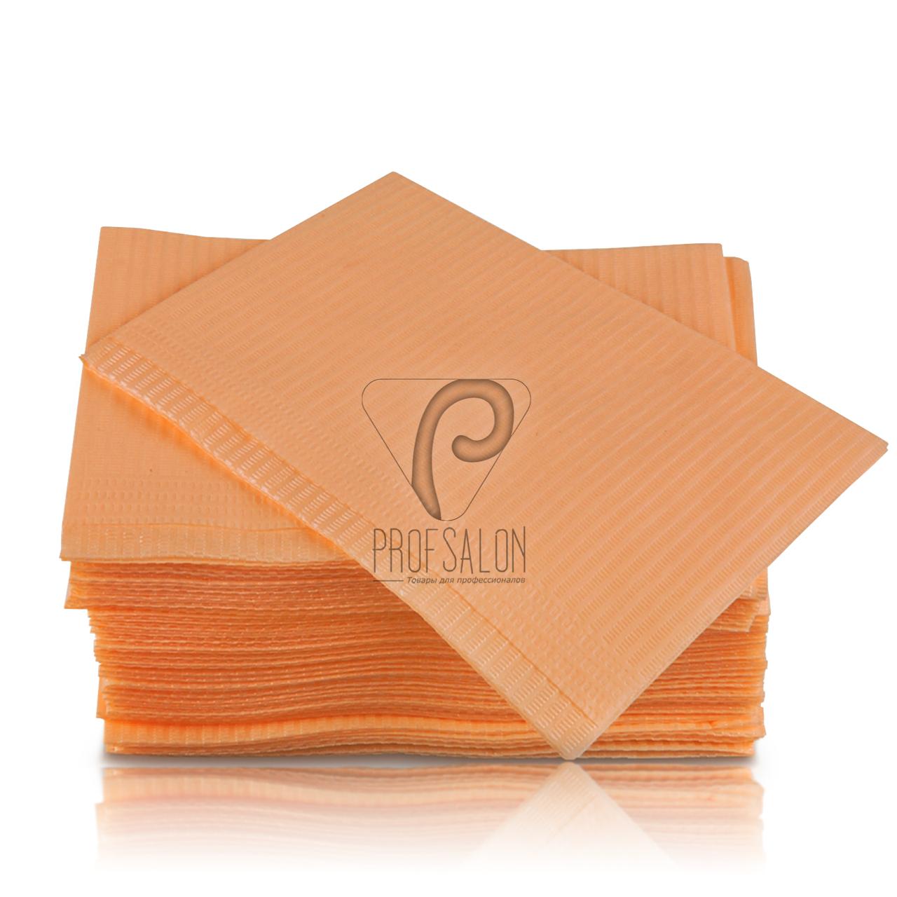 Стоматологические салфетки нагрудники непромокаемые, 500 шт, 45х32см, персиковые