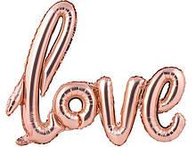 Фольгований напис Love рожеве золото  105х65см Китай