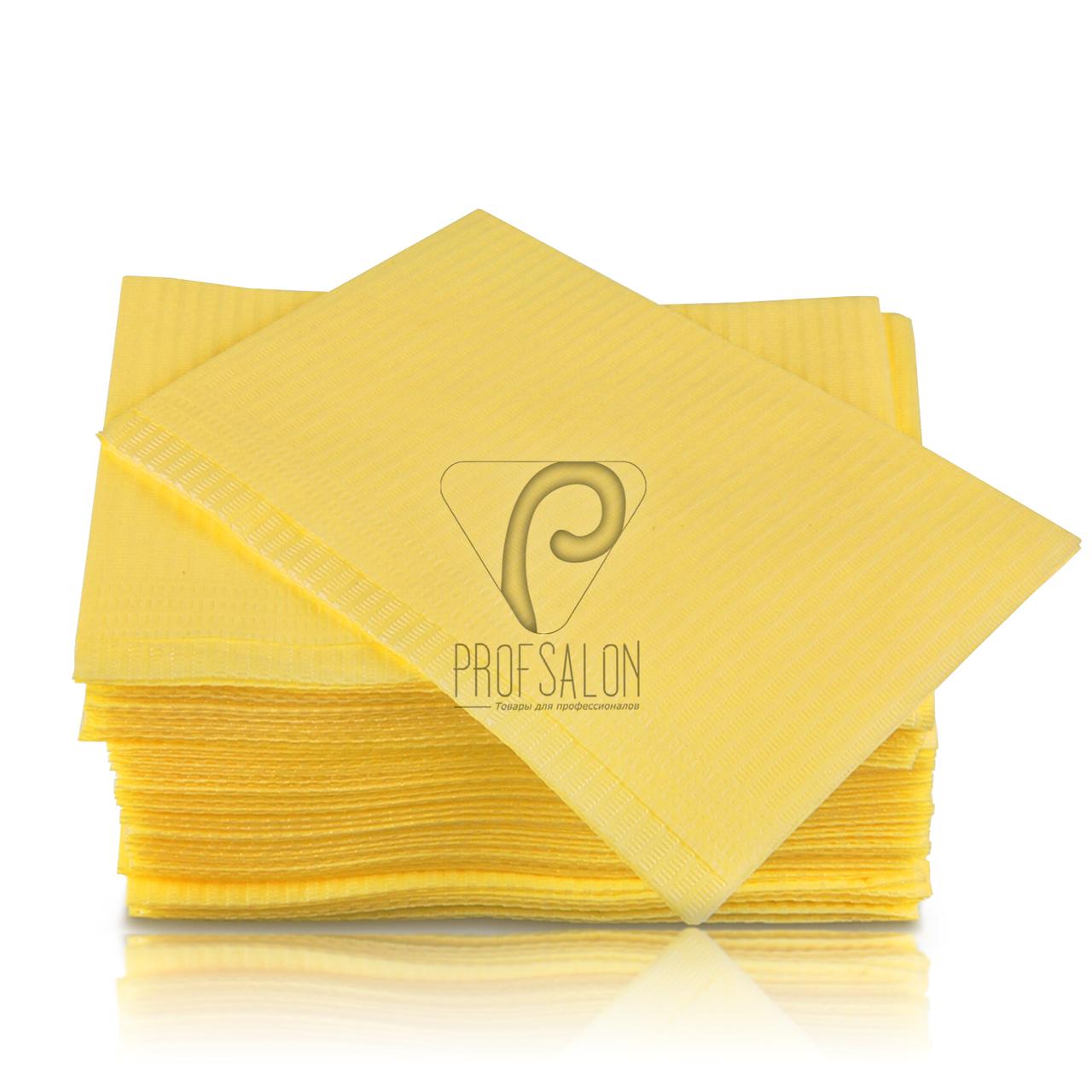 Стоматологические салфетки нагрудники непромокаемые, 500 шт, 45х32см, желтые