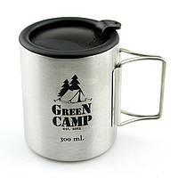 Кружка термо туристическая GreenCamp, нержавеющея сталь, пластик, 300мл. (GC-300A)