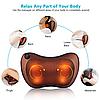 Массажная Подушка MASSAGE PILLOW QY-8028 Инфракрасный роликовий массажер для шеи и спины Коричневая, фото 6