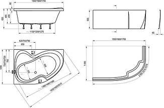 Ванна Ravak Rosa II 170x105 см, ліва (ручки, панель, ніжки), фото 3