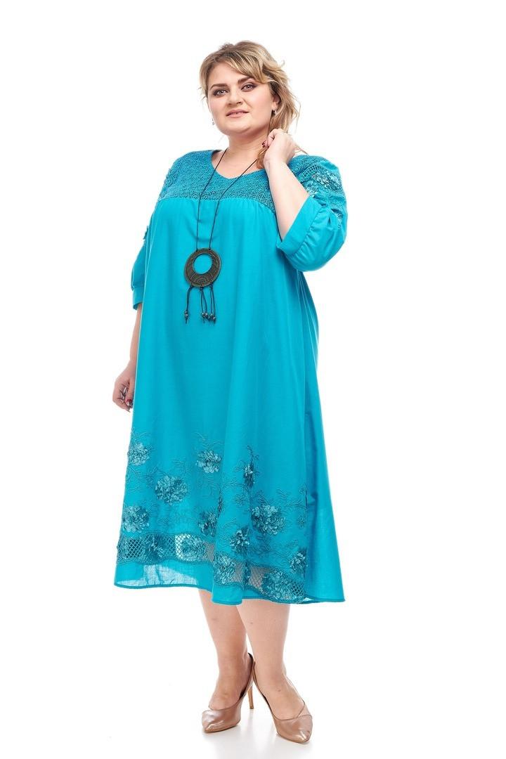 Яркое женское платье батал Полина 3 цвета (64-70)