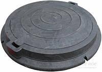 Люк полимерпесчаный канализационный легкий,черный с з/у