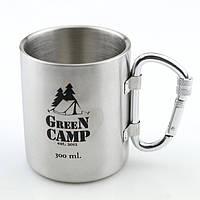 Кружка термо туристическая GreenCamp, нержавеющея сталь, ручка-карабин, 300мл. (GC-300B)