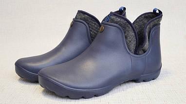 Полуботинки женские (подростковые) синие из EVA с утепляющей вставкой из войлока, фото 2