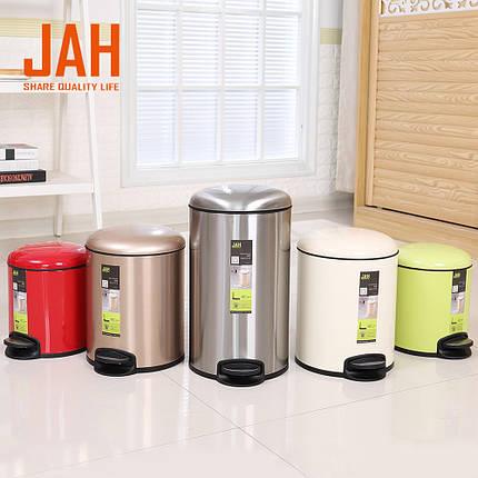 Ведро для мусора JAH 7 л (алюминий, цвет белый, внутреннее ведро), фото 2