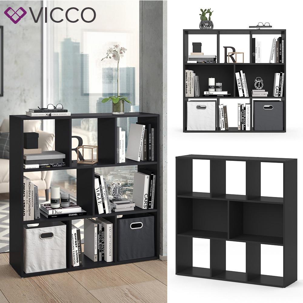Открытый шкаф стеллаж 107x108 Vicco Arya, 8 полок, черный