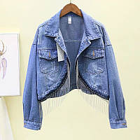 Коротка джинсова куртка з китицами, фото 1