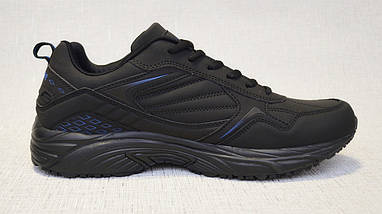 Кроссовки из нубука Restime PMO19502 чёрные с синими вставками, фото 3