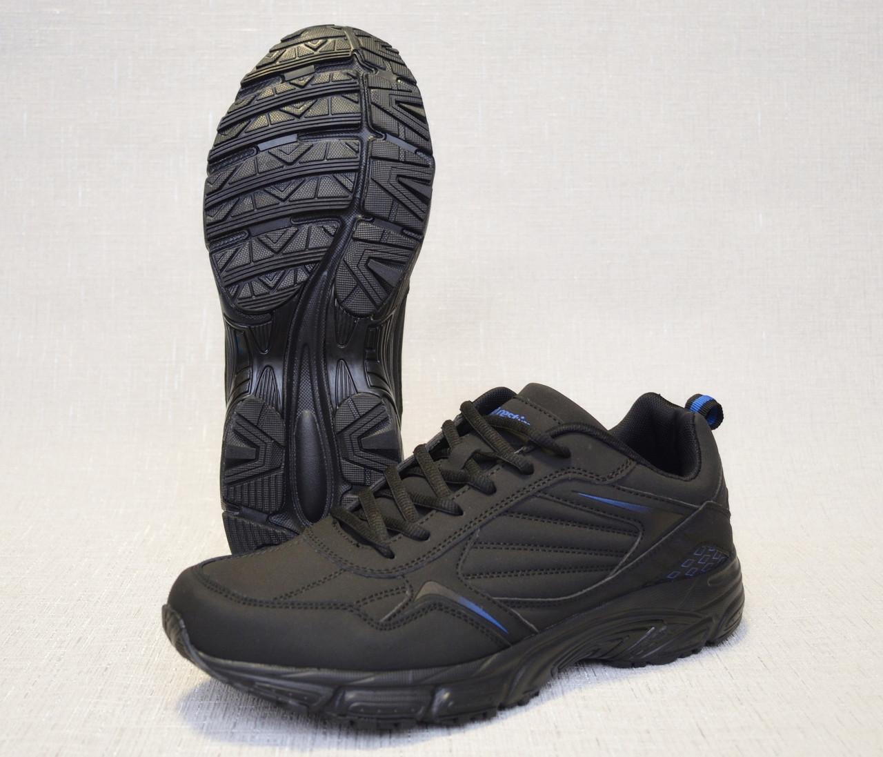 Кроссовки из нубука Restime PMO19502 чёрные с синими вставками