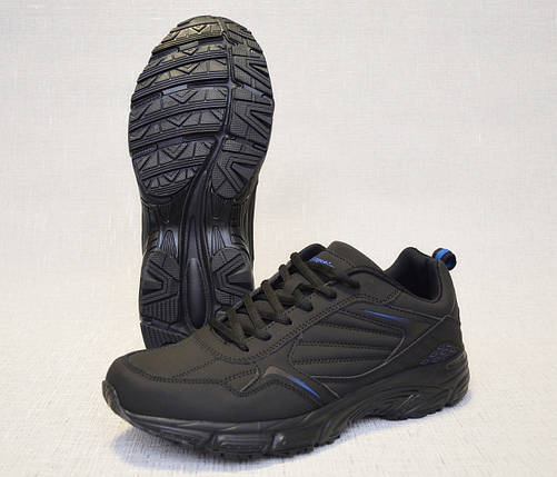 Кроссовки из нубука Restime PMO19502 чёрные с синими вставками, фото 2