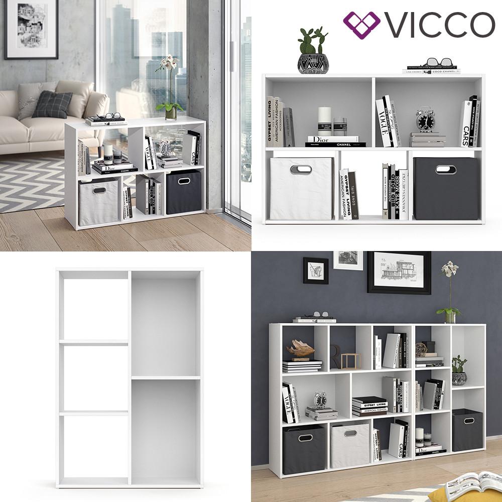 Vicco розділювач кімнати Arya, книжкова шафа 5 полиць, 72x108, колір білий