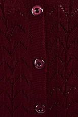 Вязаный жилет больших размеров бордовый Вера, фото 3