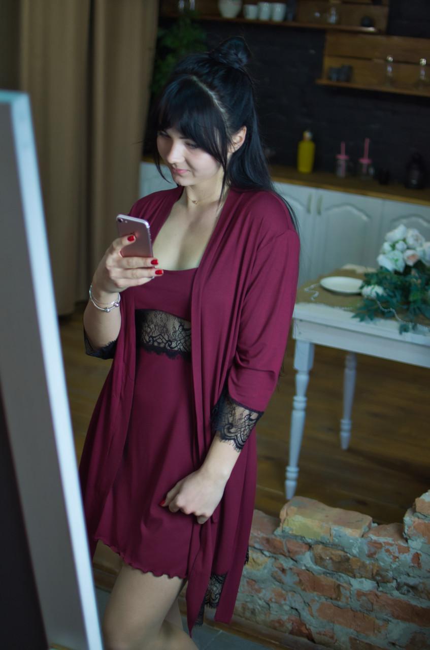 Сорочка с кружевом Serenade марсала с черным