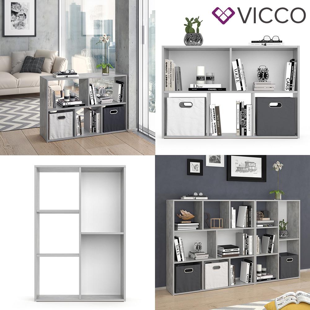 Vicco разделить комнаты Arya, книжный шкаф 5 полок, 72x108, цвет бетон