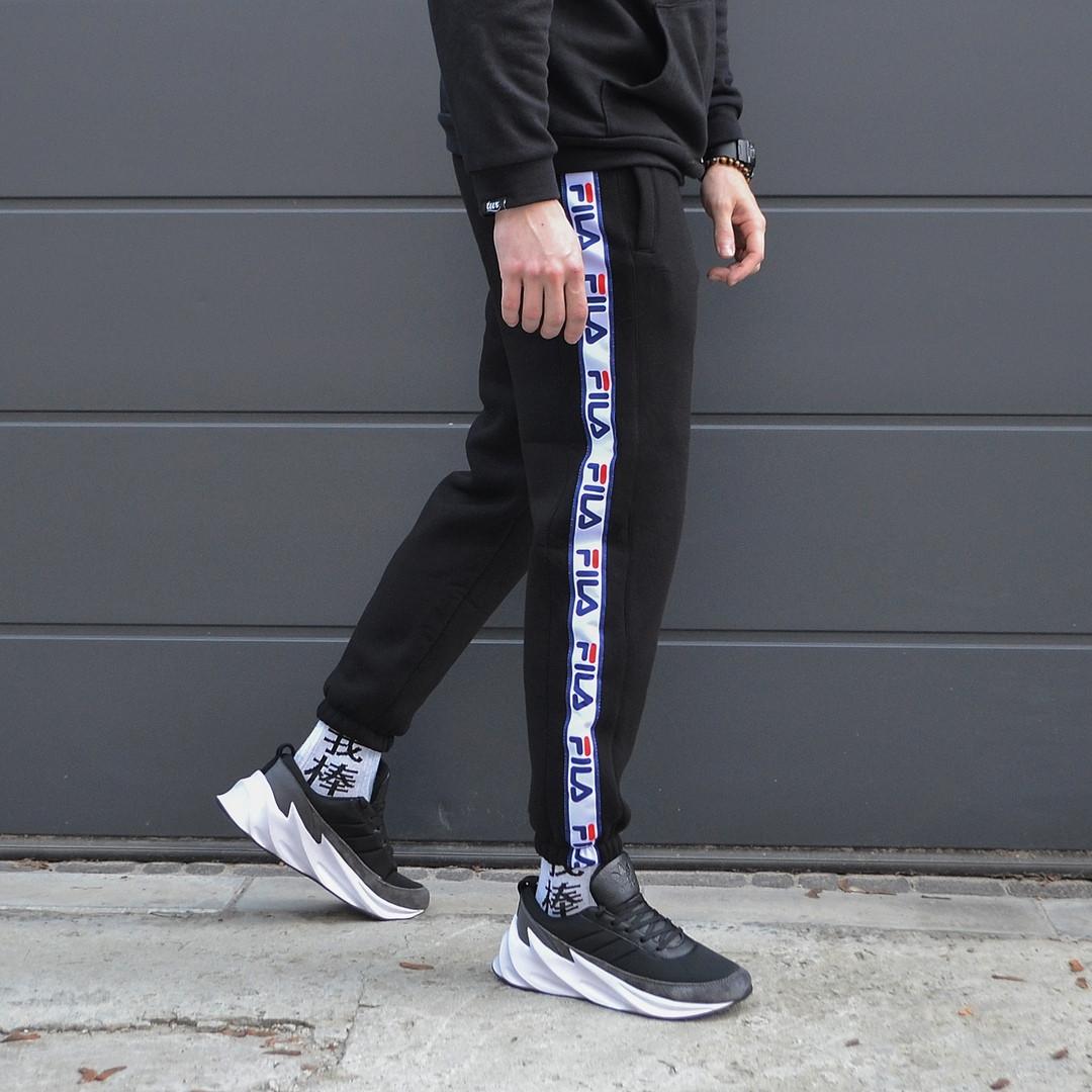 Зимние спортивные штаны мужские чёрные Фила Fila, размер М