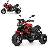 Детский трехколесный электромобиль мотоцикл 2 мотора Колеса EVA  Bambi M 4152EL-3 красный