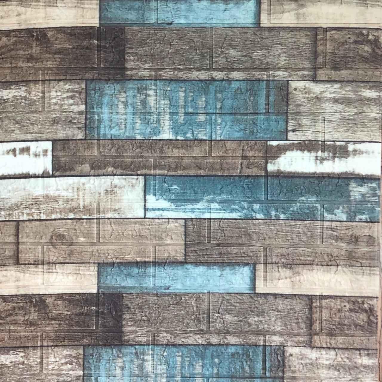 3д панель стеновой декоративный Кирпич Синее Дерево (самоклеющиеся 3d панели для стен оригинал) 700x770x5 мм