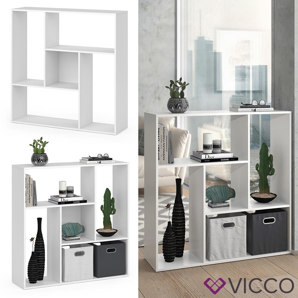 Vicco книжный шкаф, перегородка на 5 отделений Sansa, 107x108, цвет белый