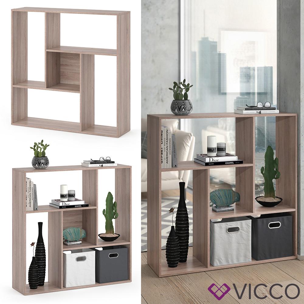 Vicco книжный шкаф, перегородка на 5 отделений Sansa, 107x108, цвет сонома