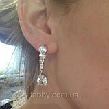 Lux посріблені невеличкі сережки з кристалами циркону 5,5 см довжиною, фото 2