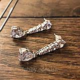Lux посріблені невеличкі сережки з кристалами циркону 5,5 см довжиною, фото 3