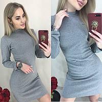 Платье женское короткое, утепленное, короткое, удобное, повседневное с длинным рукавом, под горло, модное