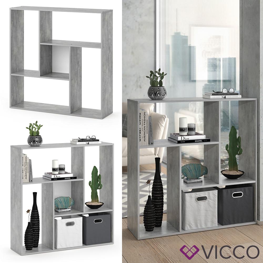 Vicco книжный шкаф, перегородка на 5 отделений Sansa, 107x108, цвет бетон