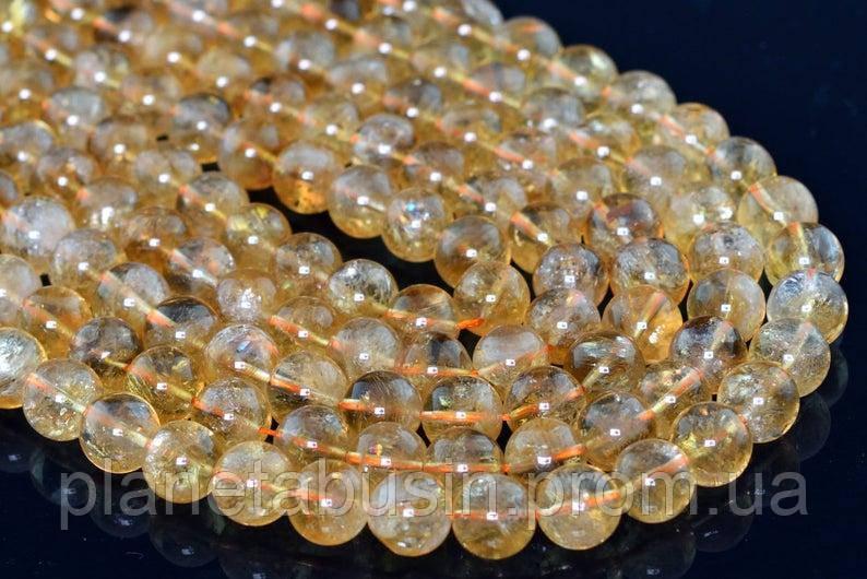10 мм Цитрин , Натуральный камень, Форма: Шар, Отверстие: 1-1.5 мм, кол-во: 38-40 шт/нить