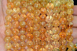 10 мм Цитрин , Натуральный камень, Форма: Шар, Отверстие: 1-1.5 мм, кол-во: 38-40 шт/нить, фото 2