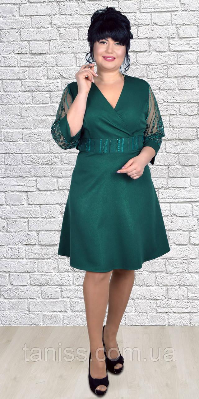 Женское ,стильное,нарядное платье ,рукав 3\4, большие размеры, размер с 46 по 52 ( 1976) зеленое